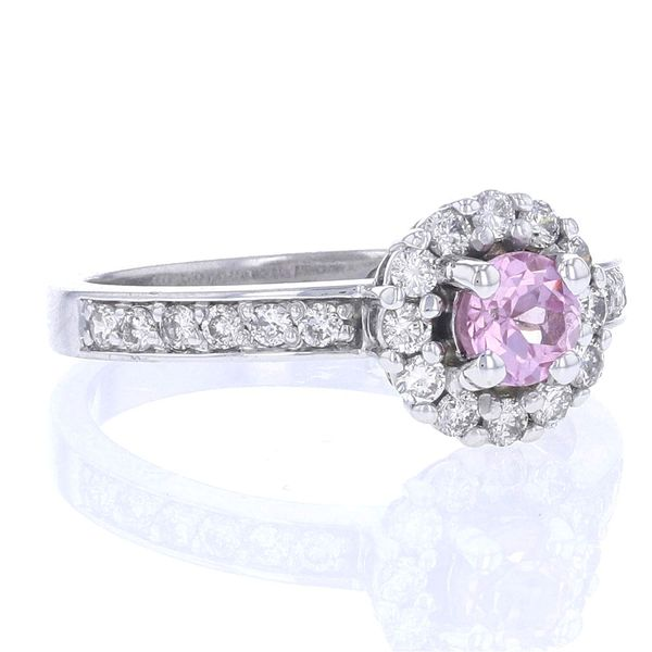 Round Pink Sapphire & Diamond Halo Ring Image 2 Fox Fine Jewelry Ventura, CA