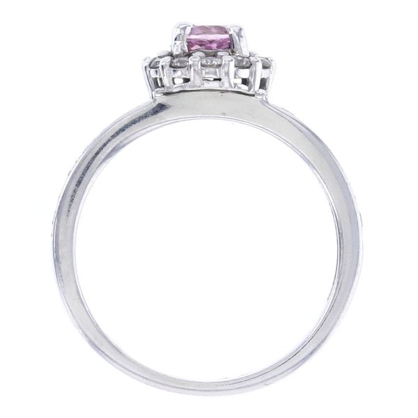 Round Pink Sapphire & Diamond Halo Ring Image 3 Fox Fine Jewelry Ventura, CA