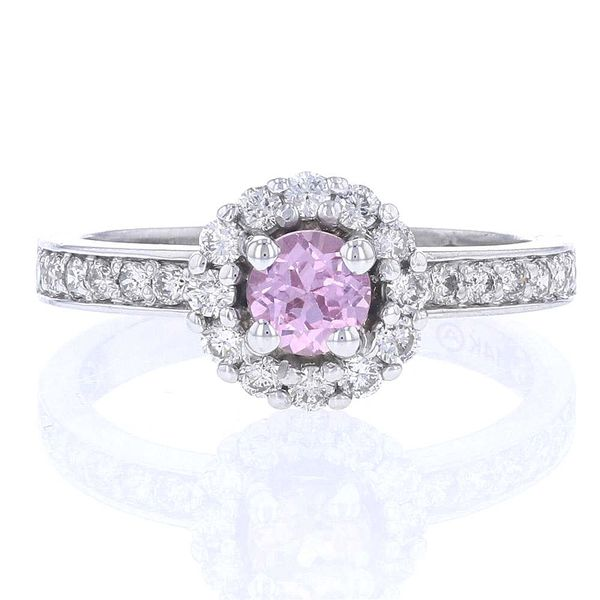 Round Pink Sapphire & Diamond Halo Ring Fox Fine Jewelry Ventura, CA