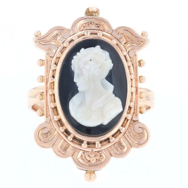 Yellow Gold Vintage Cameo Ring Fox Fine Jewelry Ventura, CA