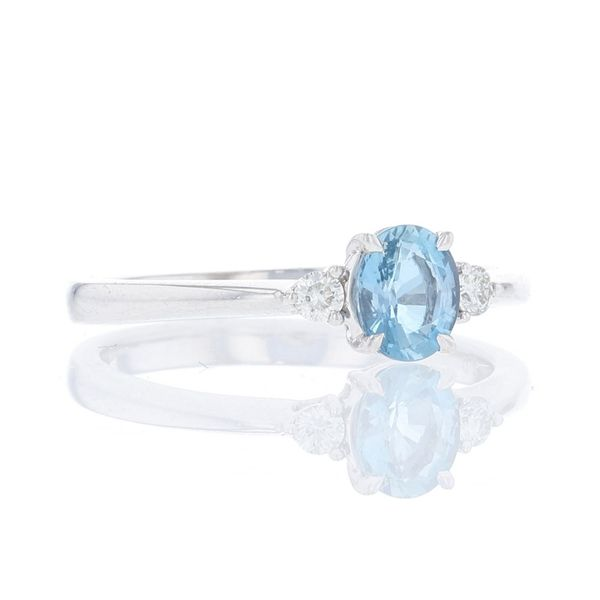 Aquamarine & Diamond Petite 3 Stone Ring Image 2 Fox Fine Jewelry Ventura, CA
