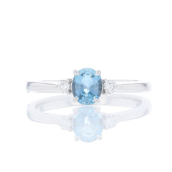 Aquamarine & Diamond Petite 3 Stone Ring Fox Fine Jewelry Ventura, CA