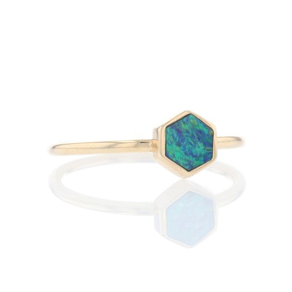 Yellow Gold Hexagon Australian Opal Ring Image 2 Fox Fine Jewelry Ventura, CA