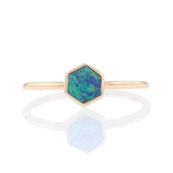 Yellow Gold Hexagon Australian Opal Ring Fox Fine Jewelry Ventura, CA