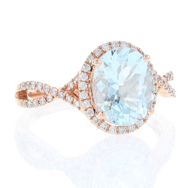 Aquamarine Diamond Criss Cross Halo Ring Image 2 Fox Fine Jewelry Ventura, CA