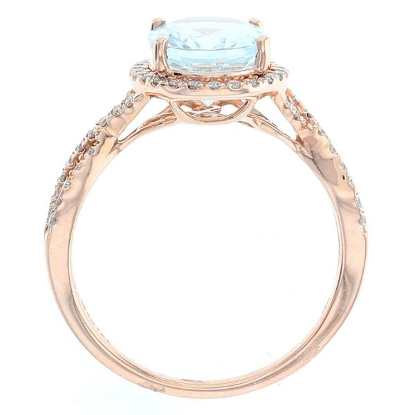 Aquamarine Diamond Criss Cross Halo Ring Image 3 Fox Fine Jewelry Ventura, CA
