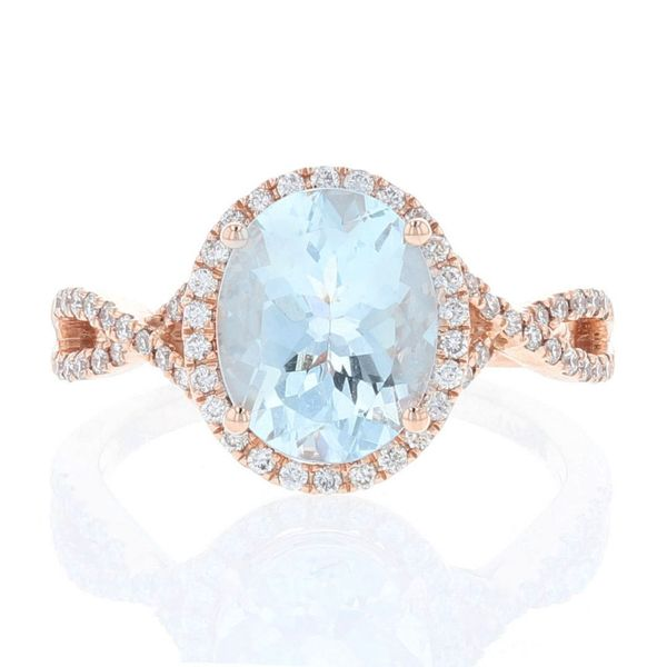 Aquamarine Diamond Criss Cross Halo Ring Fox Fine Jewelry Ventura, CA