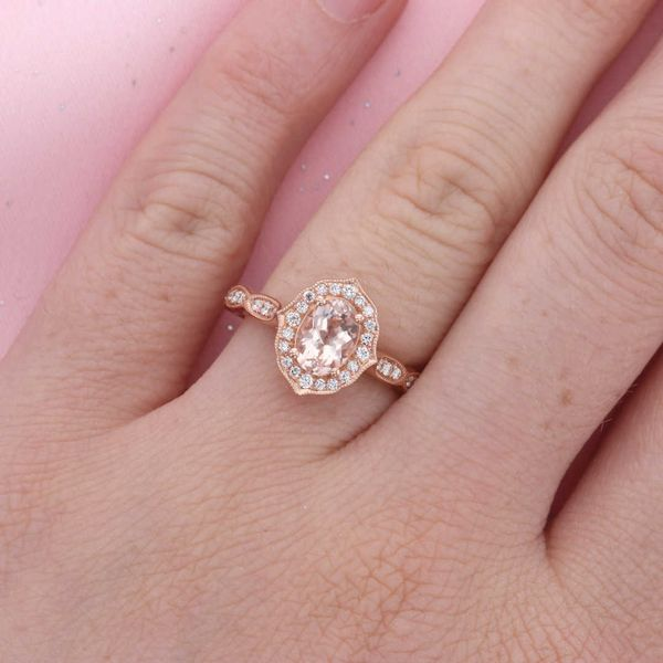 Morganite & Diamond Halo Ring Image 4 Fox Fine Jewelry Ventura, CA