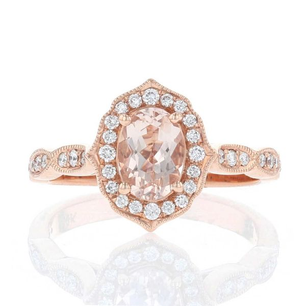 Morganite & Diamond Halo Ring Fox Fine Jewelry Ventura, CA