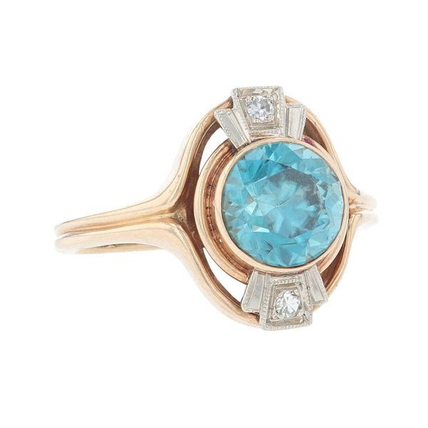 Two Tone Blue Zircon & Diamond Ring Image 2 Fox Fine Jewelry Ventura, CA
