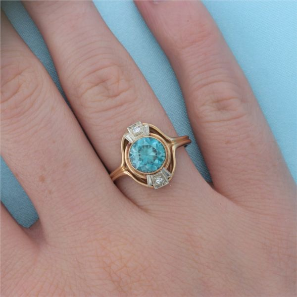 Two Tone Blue Zircon & Diamond Ring Image 4 Fox Fine Jewelry Ventura, CA