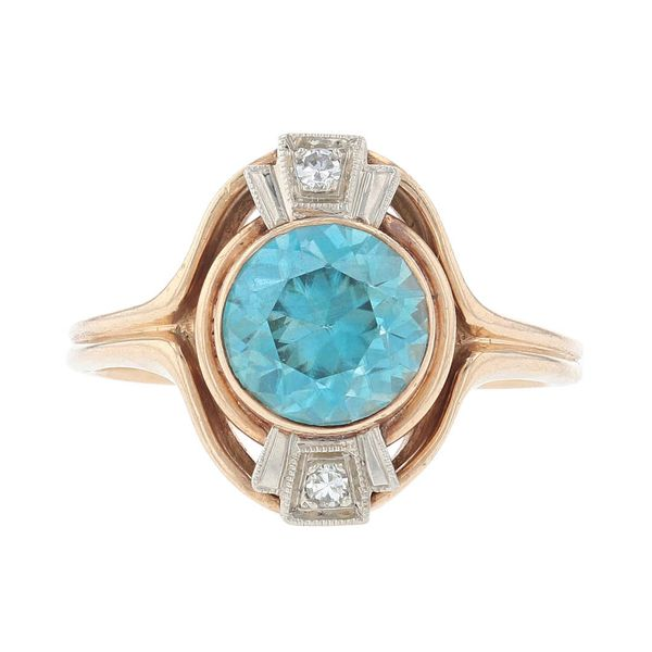 Two Tone Blue Zircon & Diamond Ring Fox Fine Jewelry Ventura, CA