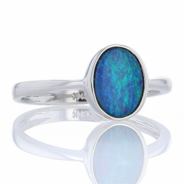White Gold Oval Australian Opal Ring Image 2 Fox Fine Jewelry Ventura, CA