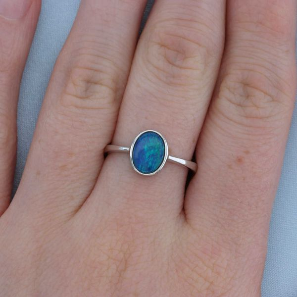 White Gold Oval Australian Opal Ring Image 3 Fox Fine Jewelry Ventura, CA