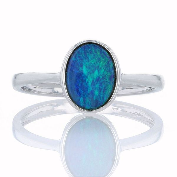White Gold Oval Australian Opal Ring Fox Fine Jewelry Ventura, CA