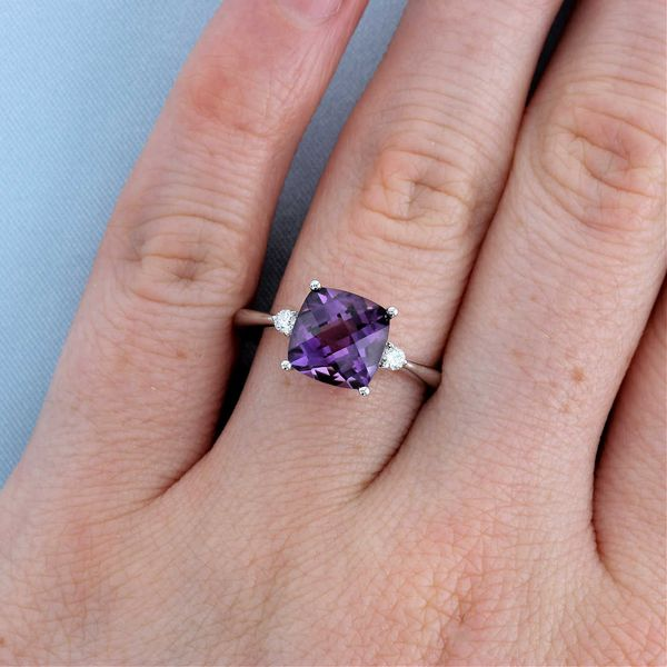 Cushion Amethyst & Diamond Ring Image 3 Fox Fine Jewelry Ventura, CA