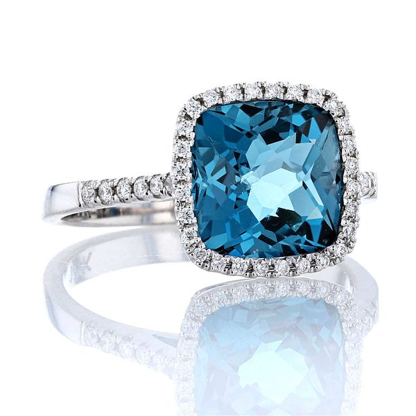 Cushion London Blue Topaz & Diamond Halo Ring Image 2 Fox Fine Jewelry Ventura, CA