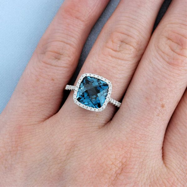 Cushion London Blue Topaz & Diamond Halo Ring Image 3 Fox Fine Jewelry Ventura, CA