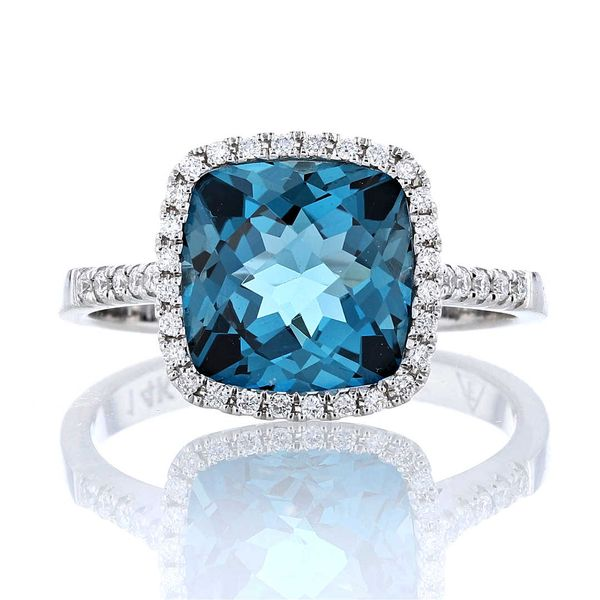 Cushion London Blue Topaz & Diamond Halo Ring Fox Fine Jewelry Ventura, CA