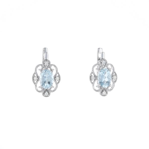 Aquamarine Filigree Diamond Earrings Fox Fine Jewelry Ventura, CA