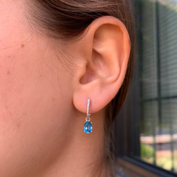 Blue Topaz Diamond Dangle Earrings Image 2 Fox Fine Jewelry Ventura, CA