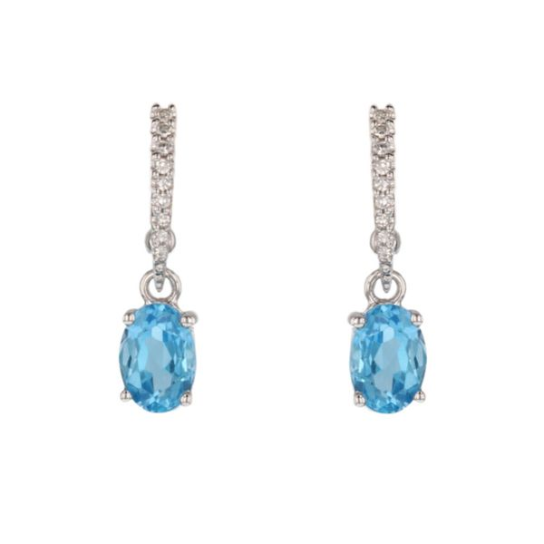 Blue Topaz Diamond Dangle Earrings Fox Fine Jewelry Ventura, CA