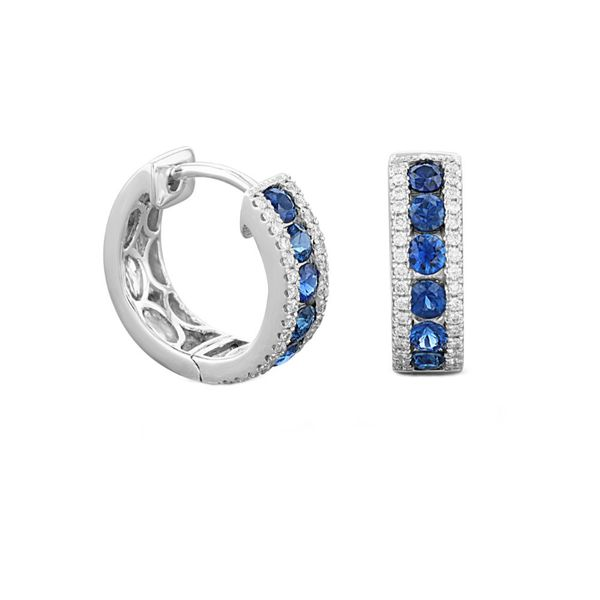 Sapphire Diamond Huggie Hoop Earrings Fox Fine Jewelry Ventura, CA