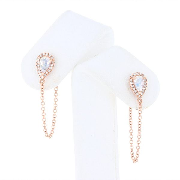 Rose Moonstone Dangle Chain Earrings Fox Fine Jewelry Ventura, CA