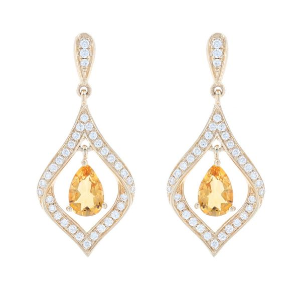 Citrine & Diamond Kite-Shape Earrings Fox Fine Jewelry Ventura, CA