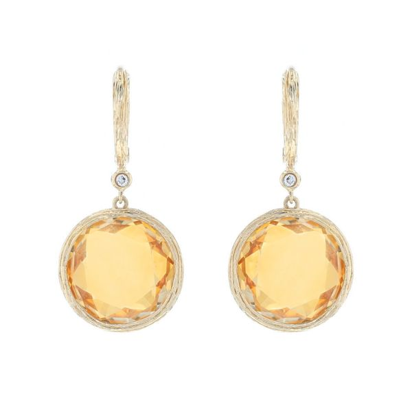 Checkerboard Citrine & Diamond Earrings Fox Fine Jewelry Ventura, CA