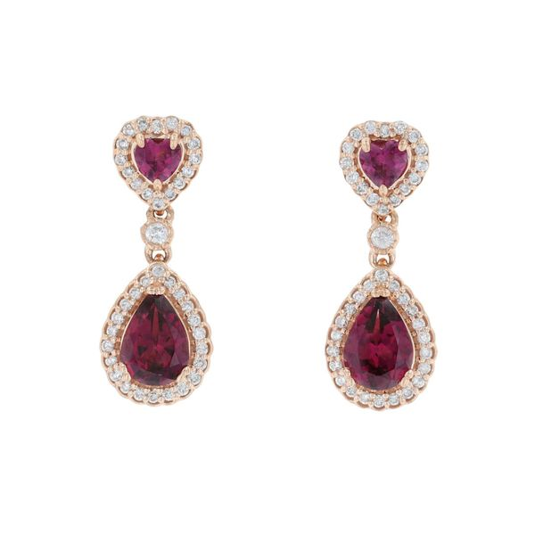 Rhodolite Garnet & Diamond Heart Earring Fox Fine Jewelry Ventura, CA