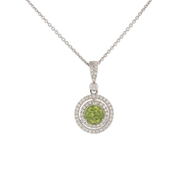 Peridot Diamond Double Halo Pendant Fox Fine Jewelry Ventura, CA