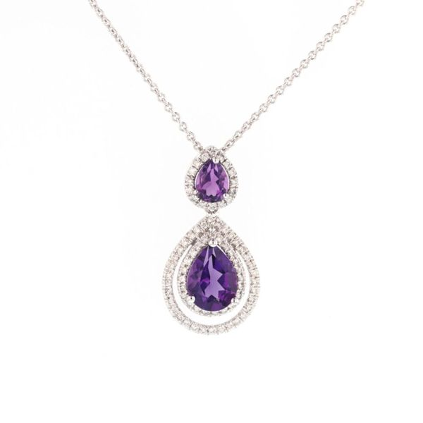 Amethyst Diamond Double Halo Pendant Fox Fine Jewelry Ventura, CA
