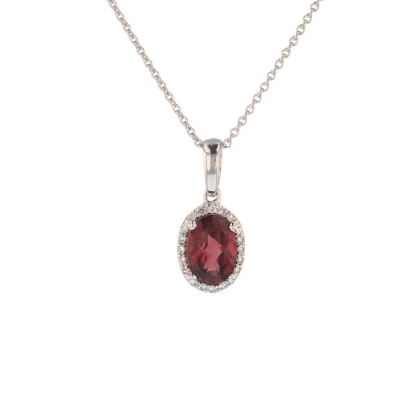 Oval Garnet Diamond Halo Pendant Fox Fine Jewelry Ventura, CA