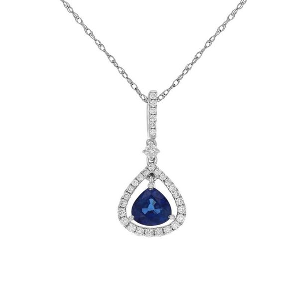 Sapphire Diamond Dangle Halo Pendant Fox Fine Jewelry Ventura, CA