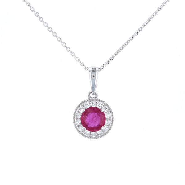 Round Ruby Diamond Halo Pendant Fox Fine Jewelry Ventura, CA