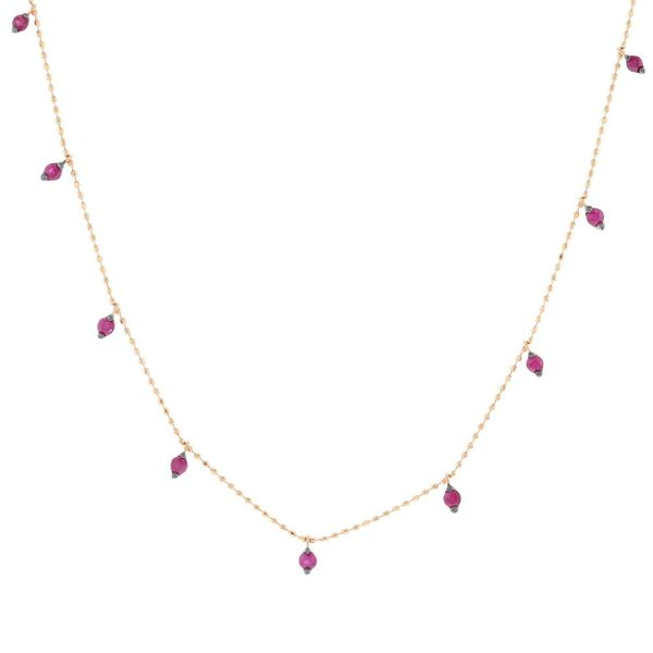 Rose Gold Ruby Station Necklace Fox Fine Jewelry Ventura, CA