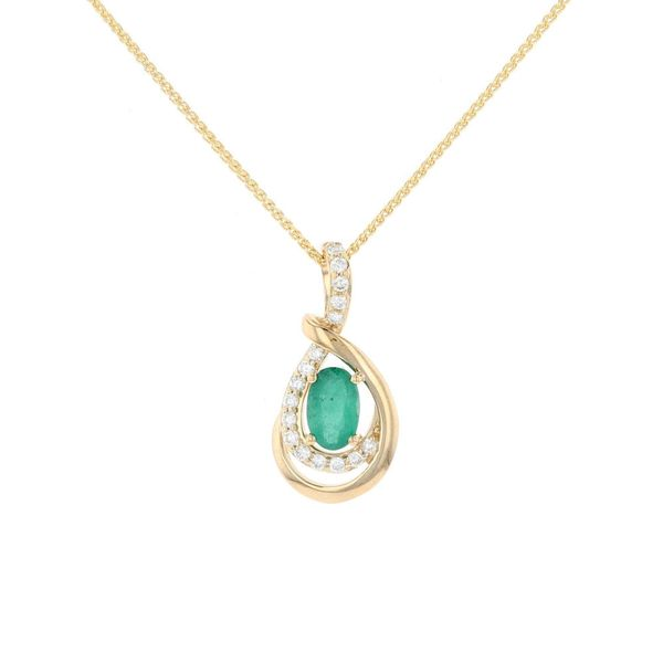 Emerald & Diamond Teardrop Pendant Fox Fine Jewelry Ventura, CA