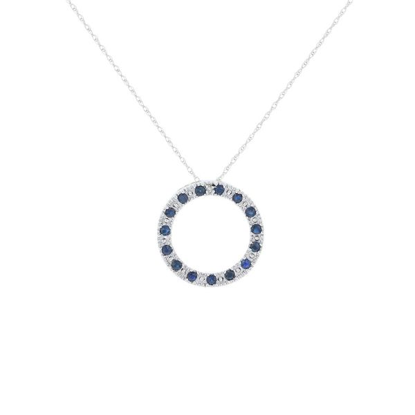 Blue Sapphire Circle Necklace Fox Fine Jewelry Ventura, CA