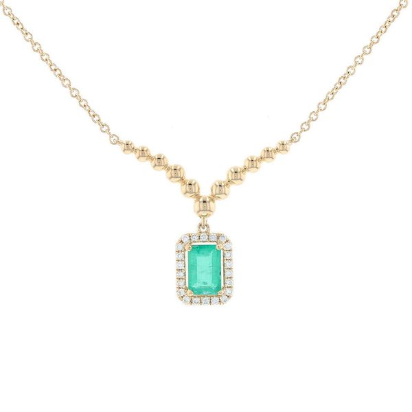 Emerald & Diamond Halo Chevron Necklace Fox Fine Jewelry Ventura, CA