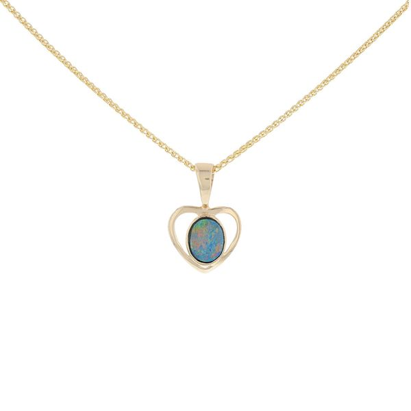 Yellow Gold Australian Opal Heart Pendant Fox Fine Jewelry Ventura, CA