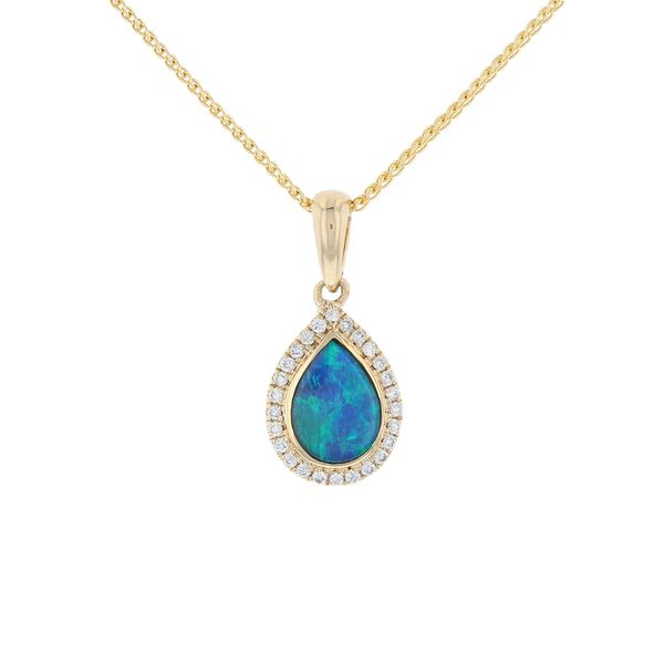 Australian Opal & Diamond Pear Halo Pendant Fox Fine Jewelry Ventura, CA