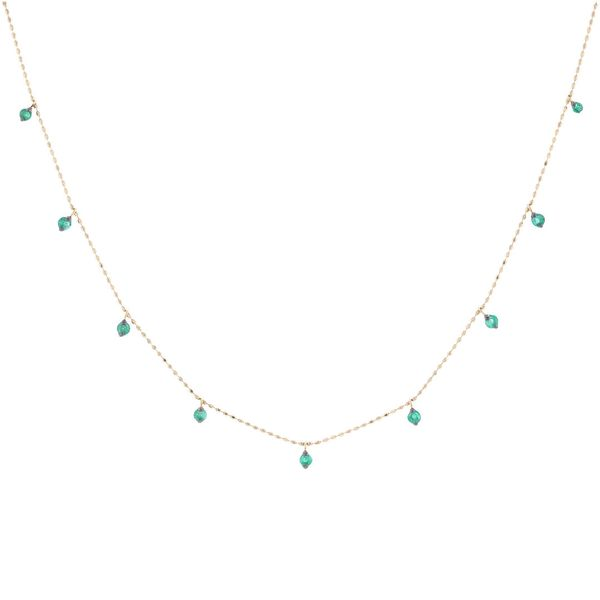 Emerald Dangle Station Necklace Fox Fine Jewelry Ventura, CA