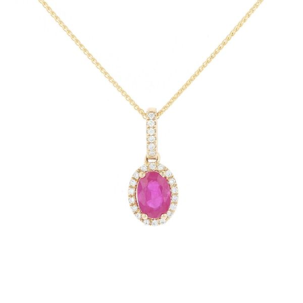Ruby & Diamond Oval Halo Pendant Fox Fine Jewelry Ventura, CA