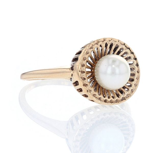 Yellow Gold Basket Akoya Pearl Ring Image 2 Fox Fine Jewelry Ventura, CA