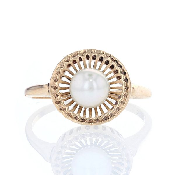 Yellow Gold Basket Akoya Pearl Ring Fox Fine Jewelry Ventura, CA