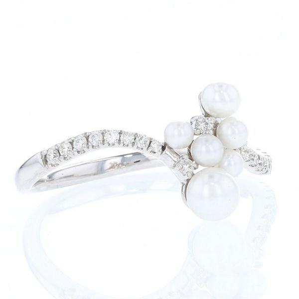 Pearl & Diamond Curved Cluster Ring Image 2 Fox Fine Jewelry Ventura, CA