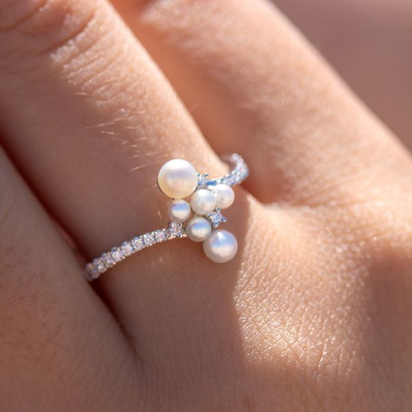 Pearl & Diamond Curved Cluster Ring Image 3 Fox Fine Jewelry Ventura, CA