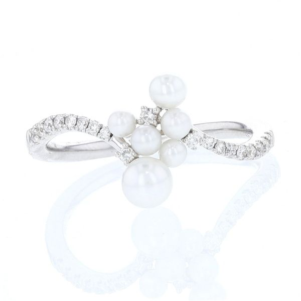 Pearl & Diamond Curved Cluster Ring Fox Fine Jewelry Ventura, CA