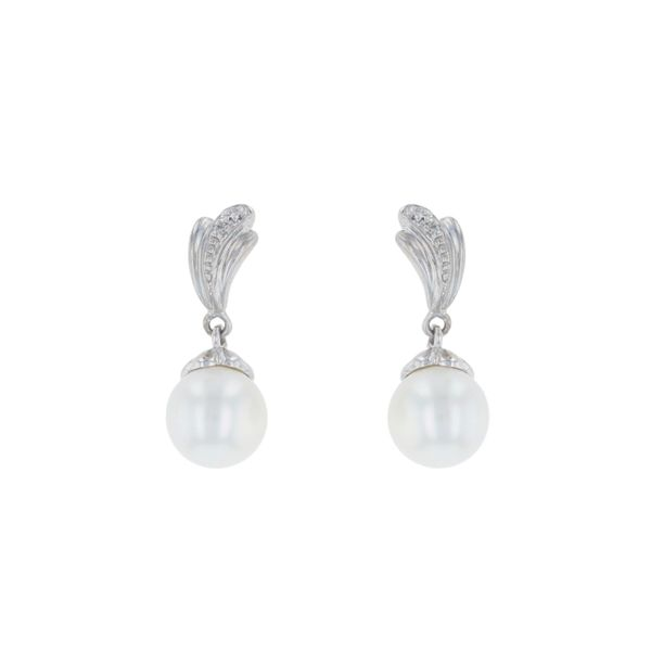 Freshwater Pearl & Diamond Drop Earrings Fox Fine Jewelry Ventura, CA